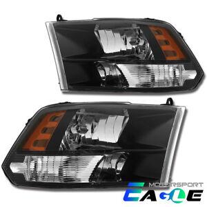 [Anti-Fog] Polished Black Quad Headlights For 2009-2018 Dodge Ram 1500/2500/3500