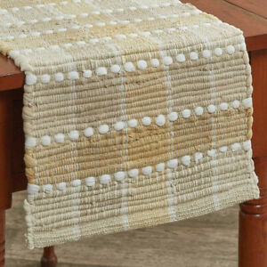 Cocoa Butter Chindi Heavy Woven Cotton Country Cottage Table Runner
