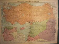 Carte de 1939 ~ Turquie Chypre SYRIE PALESTINE & transjordan Irak
