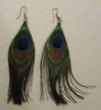 Earrings Beautiful Peacock Feathers Long Dangle Hook Style Blue Green NWT T6