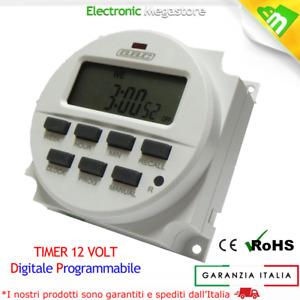TIMER DIGITALE PROGRAMMABILE 12V 12 VOLT GUIDA DIN PER CACCIA NAUTICA E SOLARE