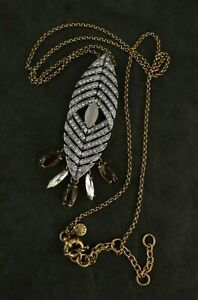 """NEW J. CREW FACETED CRYSTAL CLUSTER ARROW NECKLACE BROWN PINK STONES 28""""L + 3"""""""