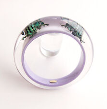 Pretty designer lilac lucite bracelet with real exotic beetles
