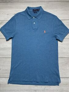 POLO RALPH LAUREN Mens Slim Fit Pique Polo Shirt Top | Medium M | Blue