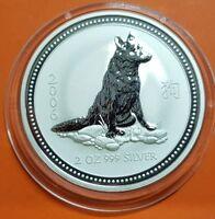 2006 PERRO 2 OZ serie LUNAR Australia PLATA 999 silver dollars DOG HUNDES