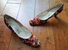 Vintage Johansen Rapp's Flower Rose Print Woman's Heels Shoes Pumps Size 10