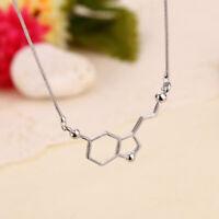 Silver Biochemistry Molecule Serotonin Happy DNA Pendant Chain Necklace Jewelry
