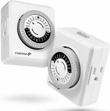 Fosmon Indoor 24 Hour Mechanical Outlet Timer [ETL Listed], Programmable Plug-in