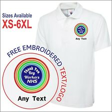 """Personalised """"Thank You Key Workers NHS"""" Embroidered Staff Rainbow Polo Shirt"""