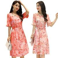 Floral Print Dress Women O Neck Frill Half Sleeve Lace Up A-line Dresses Party