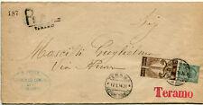 1911 Cinquantenario dell'Unità d'Italia 2 cent. su Busta Raccomandata Teramo