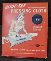 "VTG 1945 Glide-Tex ""Chemically Treated"" Pressing Cloth Unused FREE SHIPPING"