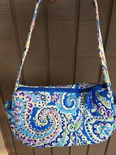 Vera Bradley Purse Handbag 100% Cotton Blue Yellow Green Purple Paisley