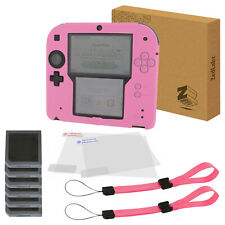 Essentials kit for 2DS inc cover skin, protectors & wrist strap - pink | ZedLabz