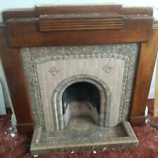 1930s fireplace, wooden mantle, tiled surround and hearth rim