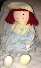 "Vtg Madeline Plush Doll 18"" Eden 1990 Summer Striped Dress w/Petticoat Bloomers"