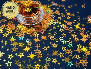 S12. Mix Gold STAR Nail Art Holographic 3D Glitter Sequins Xmas