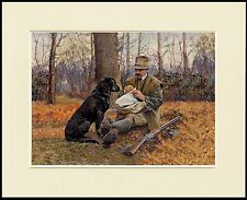 LABRADOR RETRIEVER MAN AND HIS DOG SHARE SANDWICHES MOUNTED PRINT READY TO FRAME