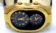 Authentic Philip Stein Man's Large Teslar Solid 18k Yellow Gold Dual Time Watch