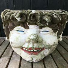 Vintage Leprechaun Cast Head Concrete Garden Planter Pot Architectural Salvage