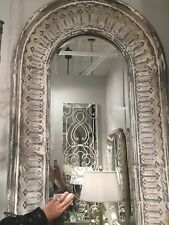 """OLD WORLD 89"""" FINISH EMBOSSED METAL WALL MIRROR FORGED IRON SLOPED VINTAGE FRAME"""