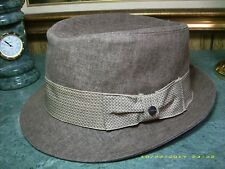 STETSON MEN'S FEDORA STC29 BRN2 BOWED RIBBON BAND CHEVRON PATTERN. RN31905. NEW