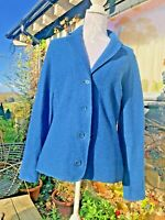 East Womens  Petrol Blue Boiled 100% Wool  Cardigan Size 14 - VGC