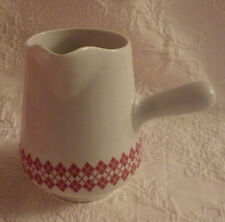 """Hot Chocolate Tea Pitcher Soup Handle Red & White by Tag New 7 1/4"""" Tall 4"""" D."""
