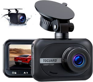 Dash Cam Front and Rear, TOGUARD Dual Dash Cam 1080P Front Car Camera W/720P Wat