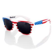 American USA Flag Horn Classic Sunglasses Retro 80s Dark Lenses