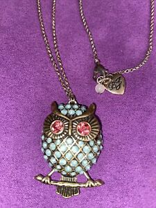 """Betsy Johnson Owl 32"""" Necklace Gold Tone Chain With Pendant Jewels Blue Pink Eye"""