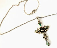 "Vintage Sterling Silver Ornate Paua Shell Crucifix Cross Pendant 16"" Necklace"