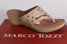Marco Tozzi Toe Thong Mules Real Leather Beige New