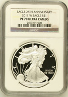 :2011-W $1 AMERICAN EAGLE 1OZ NGC PERFECT-PROOF PF-70-ULTRA-CAMEO HIGHEST-GRADES
