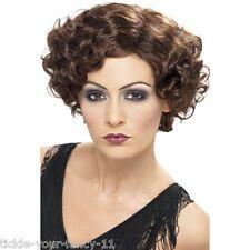 Womens Quality 20's Flirty Flapper Wig Short Brown Fancy Dress Gangster Curls