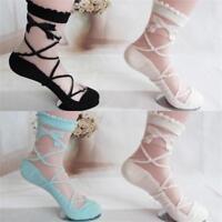 5/10 Pairs Women Girl Bowknot Lace Silk Socks Summer Casual Transparent Thin New