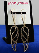 Betsey Johnson Goldtone ANGELS AND WINGS Openwork Pave' Wing Drop Earrings $50