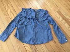 Designer Madewell Womens Denim Ruffle Top Blouse Everyday Size XS 0