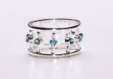 SILVER METAL CIRCUS STACKING RING WITH SPARKLING BABY BLUE GEMSTONES (ZX38)