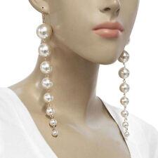New Arrival ! Long Round White Pearl drop dangle Earrings Delicate Dangle