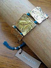 Chan Luu Bracelet Teal Friendship Drawstring w Gold Floral Stamp Bridge Work NWT