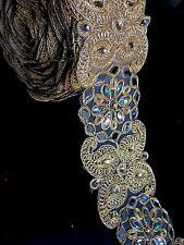 1 meter gold diamante lace trim pearls beads stones mirrors ribbon border