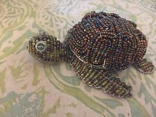 Beadwork By Grassroots Sea Turtle Iridescent Beaded Wire Sculpture