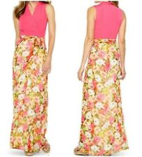NWT rtl $138 Chetta B Floral Pink Long Maxi Dress Faux Wrap Front Garden Party