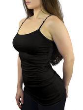 Womens Spaghetti Strap Camisole Tank Top w/ Built in Bra - Solid Color Cami Tops