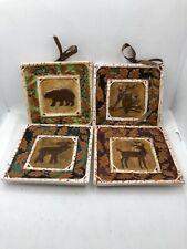 New listing (4)MWW Market Susan Winget Mini Ceramic Plates Bear Owl Deer Animal Wall Hanging