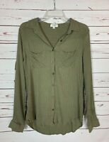 Umgee USA Boutique Women's M Medium Green Striped Ruffle Button Top Blouse Shirt