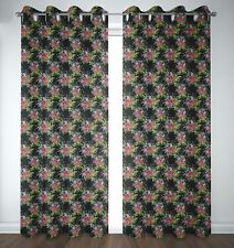S4sassy Floral Leaves & Peony Bedroom Door Treatment Eyelet Curtains -FL-61J