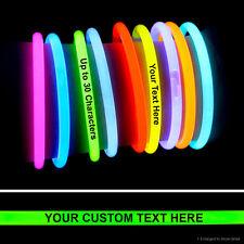 """1000 x CUSTOM IMPRINTED 8"""" Glow Light Sticks Bracelets YOUR TEXT Birthday Party"""