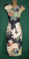 New TED BAKER Uk6 Black Opulent Bloom CANDISS BodyCon Stretch Scuba Pencil Dress
